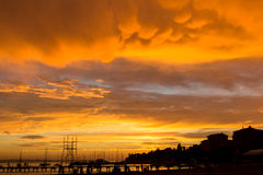 Strand bij zonsondergang Royalty-vrije Stock Afbeelding