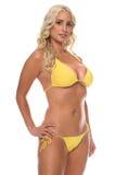 Strand-blonder gelber Bikini Lizenzfreies Stockfoto