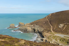Strand bredvid St Agnes Cornwall England UK Arkivfoton