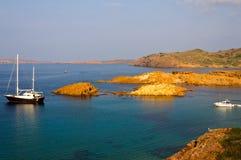 Strand Calas Pregonda in Menorca, Spanien stockbild