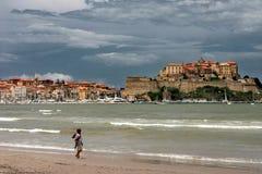 strand calvi corsica Royaltyfri Fotografi