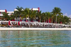 Strand in Cancun, Mexiko Lizenzfreies Stockfoto