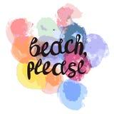 Strand citaat op multicolored textuur van waterverf met multi-colored cirkels GELIEVE van letters te voorzien stock illustratie