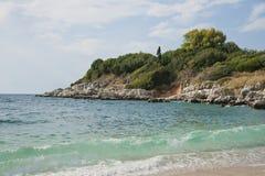 strand corfu Arkivbild
