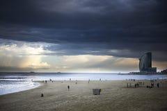 Strand, Costa Brava, Overzees, Hemel, Stormachtig Barcelona, Stock Afbeelding