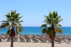 Strand Costa del Sol (Küste des Sun), Màlaga in Andalusien, Spanien Stockbild