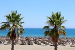 Strand Costa del Sol (kust av solen), Malaga i Andalusia, Spanien Fotografering för Bildbyråer