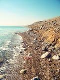 Närliggande strand det döda havet Arkivbilder