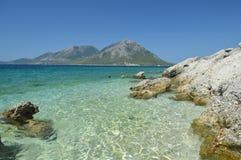 Strand in de Middellandse Zee van Griekenland Stock Foto