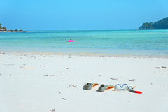 Strand de overzeese maskervin zwemt duikvlucht snorkelt de zomer ontspant Royalty-vrije Stock Fotografie