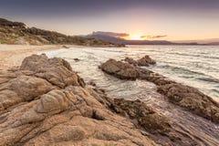 Strand DE Petra Muna dichtbij Calvi in Corsica Stock Afbeeldingen