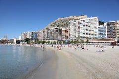 Strand de Spanwijdte in van Alicante, Catalonië Royalty-vrije Stock Afbeeldingen