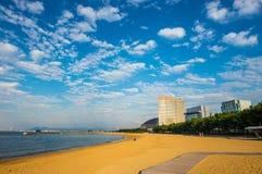 Strand in de stad van Fukuoka Stock Foto's