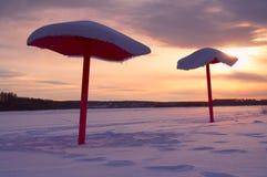 Strand in de winter Royalty-vrije Stock Foto's