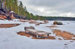 Strand in de winter stock foto