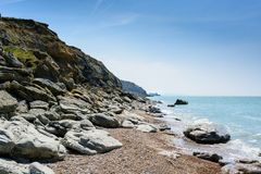 Strand an der Kappe Gris Nez, Audresselles, Frankreich Stockbild