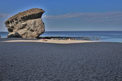 Strand des Muertos von Carboneras Almeria Andalusia Spain lizenzfreies stockbild