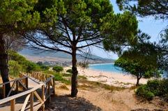 Strand dichtbij Tarifa in Andalucia in Spanje royalty-vrije stock afbeelding