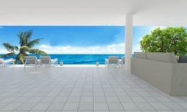 Strand die bij Overzeese mening en het blauwe hemel achtergrond-3d teruggeven leven Stock Foto