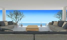 Strand die bij Overzeese mening en het blauwe hemel achtergrond-3d teruggeven leven Royalty-vrije Stock Foto