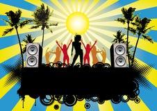 Strand-Disco-Party-Flugblatt mit Tanzen-Mädchen Vektor Abbildung
