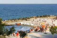Strand in Eforie-Zuidenstad stock afbeelding