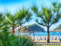 Strand en Baai in San Sebastian Spain Stock Afbeelding