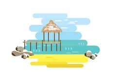 Strand en bungalow, pijler Mening over het overzees Vlakke vector Stock Foto's