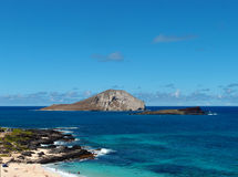 Strand en eilanden bij Makapuu-Strandpark, Oahu, Hawaï Stock Afbeelding