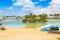 Strand en för Hawaii oahu honululuwaikiki av de mest önskvärda turist- destinationerna i världen Arkivfoto