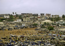 Strand en Markt in Ghana royalty-vrije stock afbeelding