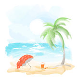 Strand en overzees stock illustratie