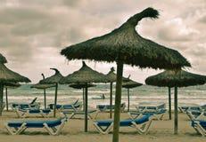 Strand en overzees met paraplu's Stock Afbeeldingen