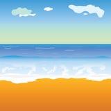 Strand en overzeese vectorillustratie Royalty-vrije Stock Foto
