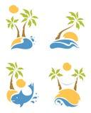 Strand en palmen stock illustratie