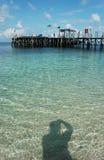 Strand en schaduw Stock Foto