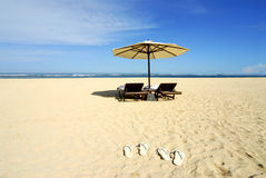 strand en stoel Stock Foto