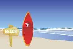 Strand en surfplank vector illustratie