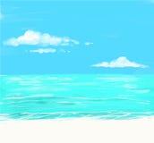Strand en tropische overzees met heldere zon Vector Illustratie