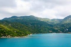 Strand en tropische toevlucht, Labadee-eiland, Haïti stock foto's