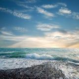 Strand en turkoois overzees water Royalty-vrije Stock Foto