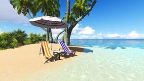 Strand en van de palmen recliner het blauwe hemel 3D teruggeven Royalty-vrije Stock Afbeeldingen