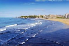Strand en vuurtoren van Biarritz, Frankrijk Stock Afbeelding