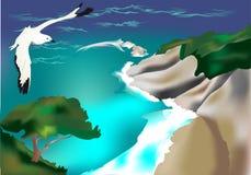 Strand en zeemeeuw stock illustratie