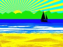Strand en zon Stock Afbeelding