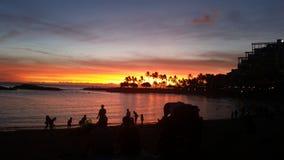Strand en zonsonderganghemel Royalty-vrije Stock Foto