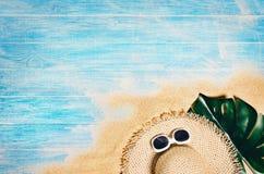Strand för bästa sikt och marin- plankor Bakgrund med kopieringsutrymme royaltyfria foton