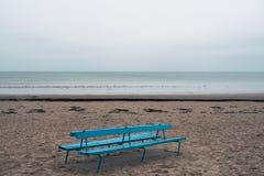 Strand för baltiskt hav med en blå träbänk i vinter Arkivbild