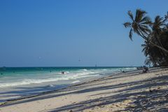 Strand för Diani strandIndiska oceanen - palmträd, turkosvatten arkivbild