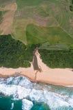 Strand för flod för luftSugarcaneTrees Royaltyfri Fotografi